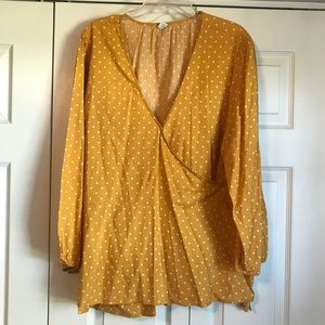 Old Navy Yellow Polka-Dot Wrap Blouse